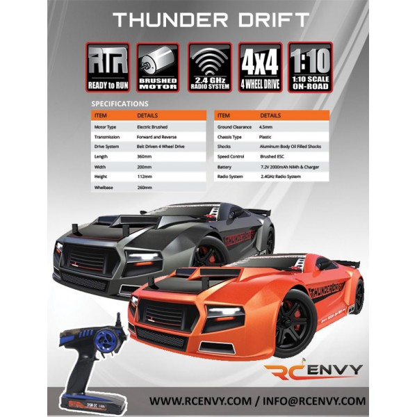 97c2d6a474f99 Redcat Racing Thunder Drift 1/10 Scale Electric Road Car | RC Envy