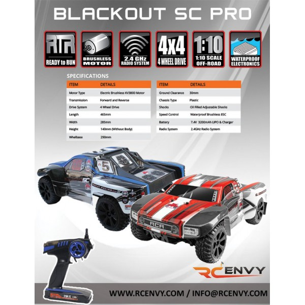 Redcat Racing 1//10 Blackout SC Pro Brushless RTR Red BLACKOUT-PRO-RE