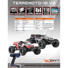 Redcat Racing Terremoto-10 V2 1/10 Scale Brushless Electric Monster Truck: